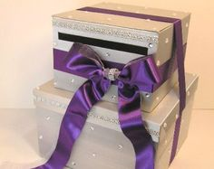 Wedding Money Box Silver and Purple Card Box Gift by bwithustudio