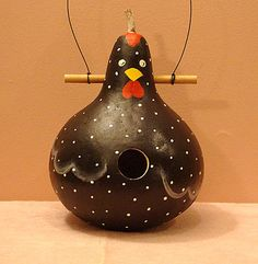 Black Rooster Gourd Birdhouse, Handpainted (GBH289) by KaydeeCountryCottage on Etsy https://www.etsy.com/listing/194413335/black-rooster-gourd-birdhouse