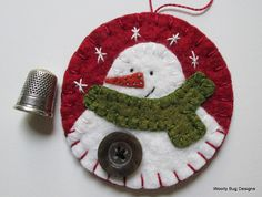 White Wool Felt Snowman with Button Handstitched Snowflakes