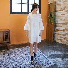 #envylook Flared Cuffs Crepe Dress #koreanfashion #koreanstyle #kfashion #kstyle #stylish #fashionista #fashioninspo #fashioninspiration #inspirations #ootd #streetfashion #streetstyle #fashion #trend #style
