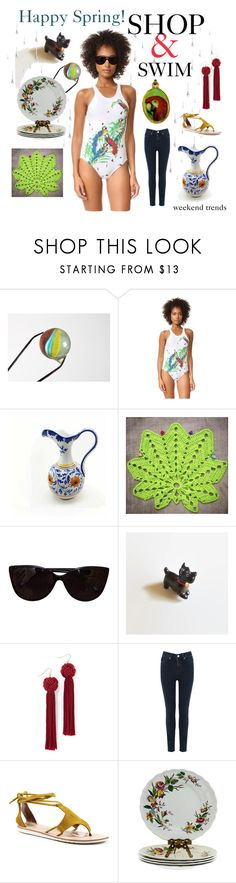 """weekend trends - SHOP & Swim"" by seasidecollectibles ❤ liked on Polyvore featuring Norma Kamali, Tiffany & Co., Disney, Vanessa Mooney, Oasis, Diba, vintage, fashiontrends, handmade and polyvoreset"