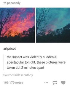 "Pretty af ""violently sudden and spectacular"" sounds like a Night Vale quote Pretty Pictures, Cool Photos, Beautiful World, Beautiful Places, Amazing Photography, Art Photography, Photography Aesthetic, Collateral Beauty, Wow Art"