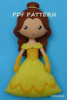 PDF sewing pattern to make a felt doll inspired in Beauty, 7 inches tall.  It is not a finished doll.  Includes tutorial with pictures and step by step