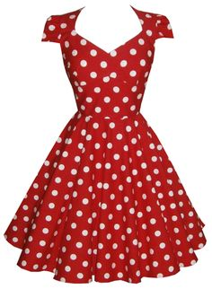 Full circle cap sleeve 'Daisy' in Polka Dots G - Red -A replica of this dress, made to measure   Please Note - This can be ordered the normal way (through our made to order service) and it would cost the same  but some of our newer customers aren't as confident in ordering so we are now also offering this simpler way to order a replica dress.