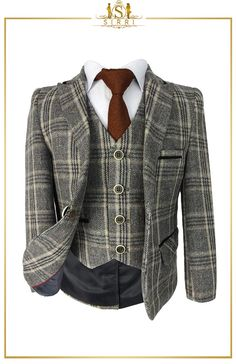 Sirri is the place for your boys' wool blend suits. A lovely Beau KiD designed 3pc boys winter tweed suit that is just in time for the upcoming winter. This wool blend features a brown checked suit that has a light beige and brown windowpane check. Shop now at SIRRI kids #boys formal wear #kids suits #page boy outfits