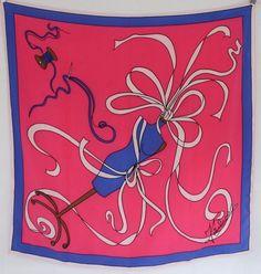"Rare Vtg FIANDACA Silk Scarf Pink Blue Dressmaker Dress Form Needle 40"" x 40""  #Fiandaca"
