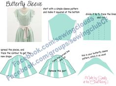 how to make butterfly sleeve. Draft made by Sandy at the cloud factory