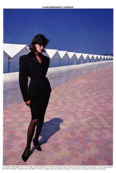 "Marie Claire France September 1986 ""Le Noir Gai"" Model: Linda Evangelista ph: Sasha"