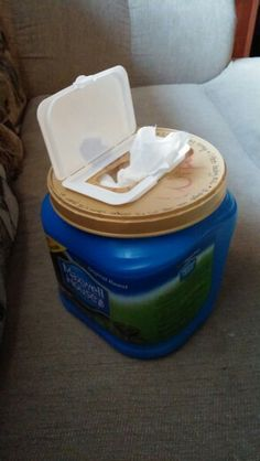 Glue disposable wipes lid on coffee container for homemade wipes