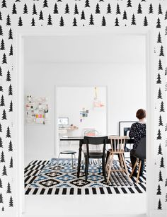Pine tree wallpaper, Fine Little Day frames