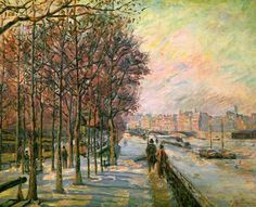 La Place Valhubert(1875)  Jean-Baptiste Armand Guillaumin - I love the trees in this one.