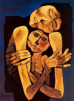 Oswaldo Guayasamin (Ecuadorian), Madre y niño (Mother and Child), Art And Illustration, Pablo Picasso, Eduardo Kingman, Figurative Kunst, Inspiration Art, Art Database, Klimt, American Art, Online Art