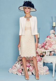 Two-Piece Lace Mother of the Bride Dresses with Jacket Women Outfits for Wedding: