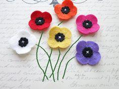 Poppy Lapel Flower  Men's Boutonniere  Wool Felt by MellysBow