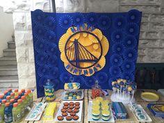 Golden State Warriors basketball birthday party dessert table