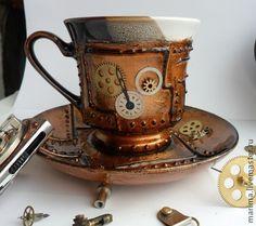 Steampunk tea cup and saucer Steampunk Interior, Diy Steampunk, Steampunk Coffee, Steampunk Accessoires, Style Steampunk, Steampunk Gadgets, Steampunk House, Steampunk Design, Steampunk Clothing