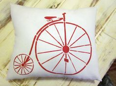 Bicycle pillow shabby chic farmhouse decor by 112FarmhouseLayne, $18.00