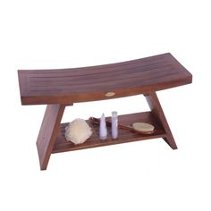 Have to have it. Decoteak Asia Teak Serenity Shower Bench with Shelf $190