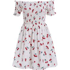 SheIn(sheinside) White Boat Neck Cherry Print Flare Dress (985 RUB) ❤ liked on Polyvore featuring dresses, vestidos, white, white short sleeve dress, boat neck dress, short white dresses, short flared dresses and short-sleeve dresses