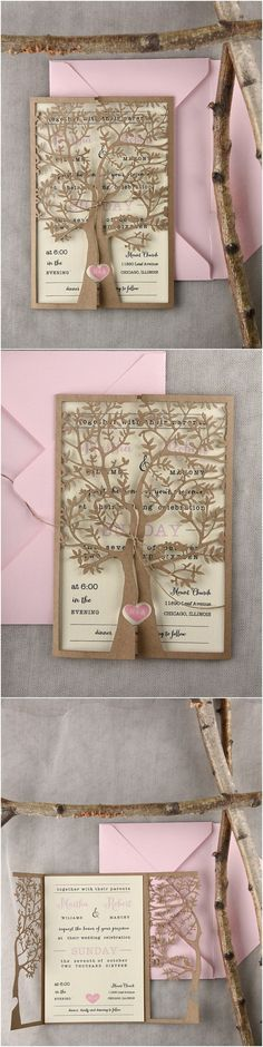 pink and gold laser cut tree wedding invitations 01Ltree / http://www.deerpearlflowers.com/laser-cut-wedding-invitations/2/