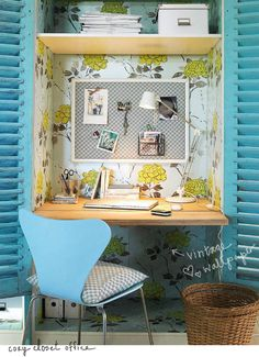 Inspiring, little closet office with vintage wallpaper. Love this idea for making use of small spaces!