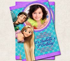 Tangled Rapunzel Birthday Party Invitation by missbellaexpressions,