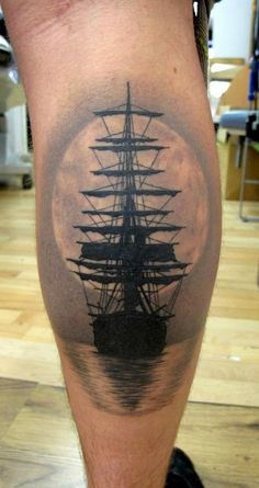 Creepy pirate ship looking tattoo