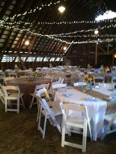 Rustic white, burlap and blue wedding reception www.enchantingspecialevents.com