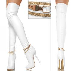 White Boots with Gold Chain Stiletto Boots, Heeled Boots, Bootie Boots, Knee Boots, White Boots, Sexy Boots, White Thigh High Boots, Talons Sexy, Leder Boots