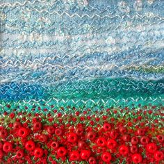 5 inch square beaded fabric art card  embroidered by StitchMikki
