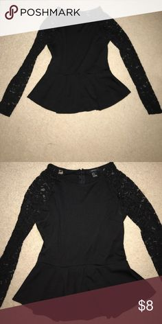 Lace Sleeve Peplum Top Gorgeous! In great condition Forever 21 Tops