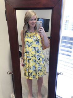 Like the print and yellow color Happy Long Weekend, Cute Dresses, Cute Outfits, Spring Fashion Outfits, Winter Outfits, Stitch Fix Outfits, Style Wish, Button Up Dress, Clothing Labels