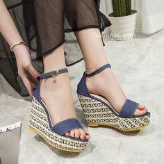 Women Wedge Sandals Buckle High-heeled Platform Shoes Denim Cloth Open Toe Sandals Zapatos Mujer Sandalias Mujer Sapato Feminino