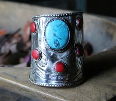 Dancing Stone Turquoise and Corral Cuff http://www.dumbblondeboutique.com/dasttuandcoc.html