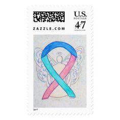 Blue, Pink, Teal Awareness Angel Postage Stamp