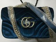 Dispatch record: Gucci AW 2016 GG Marmont velvet shoulder bag blue rubin chevron velvet