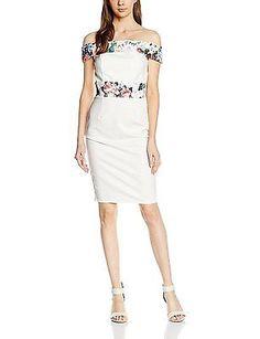 10, Off-White (Cream), Paper Dolls Women's Floral Print Bardot Dress NEW