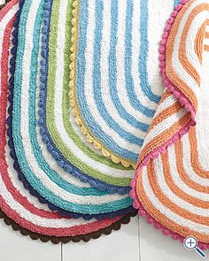 Superbe Scallop Edge Cotton Bath Rug In Happy Colors   Garnet Hill   $32