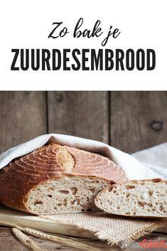 Zuurdesembrood is hipper dan ooit. Je kunt het bij de bakker halen, maar je kunt het ook zelf maken. Moeilijk is het niet: met de tips van Libelle Lekker tover jij straks een heerlijk broodje uit de oven. Het enige wat je nodig hebt, is een flinke portie geduld. Dutch Recipes, Pastry Recipes, College Meals, Piece Of Bread, Bread And Pastries, Crackers, Food Inspiration, Love Food, Donuts