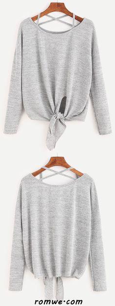 Heather Grey Drop Shoulder Criss Cross Tie Front T-Shirt