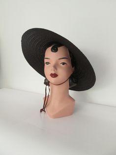 SALE Cute 1950s brown felt mushroom hat pin up madmen