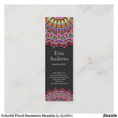 Colorful Floral Geometric Mandala Mini Business Card #BusinessCard #zazzle #mandala #yoga #MandalaBusinessCard #colorful #floral #FloralMandala #holistic #geometric #wellness #massage #spa #bohemian #flower #meditation #YogaBusinessCard #BusinessCards #template