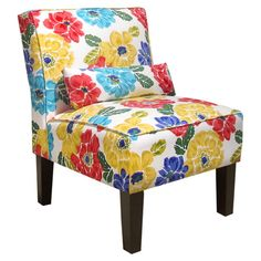 Slipper pair with floral upholstery and pine wood frame. Handmade in the USA.Product: Accent chairConstruction Materi...