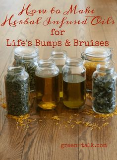 """Do you have aches and pains or does your skin needs some TLC? Instead of buying chemically laden store bought products, make your own infused herbal oils with just dried herbs with your choice oil to… More "" Cold Home Remedies, Natural Health Remedies, Herbal Remedies, Holistic Remedies, Herbal Tinctures, Herbal Oil, Herbalism, Healing Herbs, Medicinal Herbs"