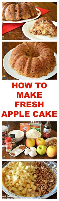 This Fresh Apple Cake is a copy cat recipe from The Apple Barn Restaurant in Sevierville, Tennessee. It is super moist and full of apples. Best Apple Recipes, Fall Recipes, Favorite Recipes, Pear Recipes, Yummy Recipes, Fresh Apple Cake, Fresh Apples, Apple Cakes, Apple Desserts