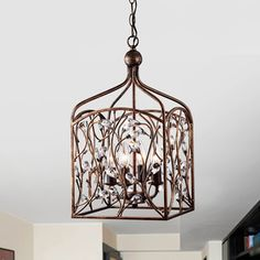 Ashley Crystal Bud Foyer Pendant Lantern in Antique Copper | Overstock.com Shopping - The Best Deals on Chandeliers & Pendants