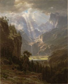 Rocky Mountains, Lander Peak - Bierstadt, Albert (American, 1830 - Fine Art Reproductions, Oil Painting Reproductions - Art for Sale at Galerie Dada Fantasy Landscape, Landscape Art, Landscape Paintings, Watercolor Landscape, Albert Bierstadt Paintings, Harvard Art Museum, Oil Painting Reproductions, Fine Art, Western Art