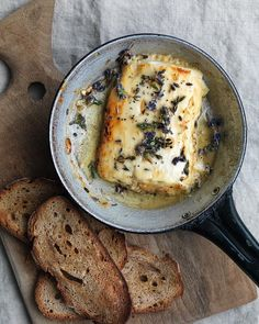 honey baked feta with lavender, thyme, and rye crisps festa;recipes with feta;spinach and feta; Baked Feta Recipe, Fingers Food, Vegetarian Recipes, Cooking Recipes, Great British Chefs, Baking With Honey, Antipasto, Honey Baked, Appetizer Recipes
