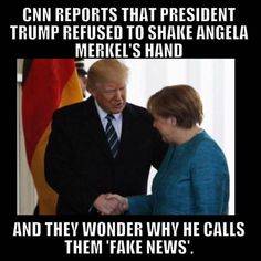 President Donald Trump greeted Germany's Angela Merkel with a handshake at the White House Friday -- a Charlotte Nc, Captain America, Donald Trump, Media Bias, Mainstream Media, Conservative Politics, News Media, God Bless America, Before Us