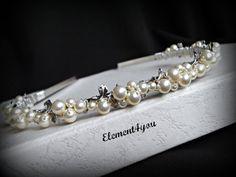Pearl headband bridal tiara silver leaf swarovski by element4you 30